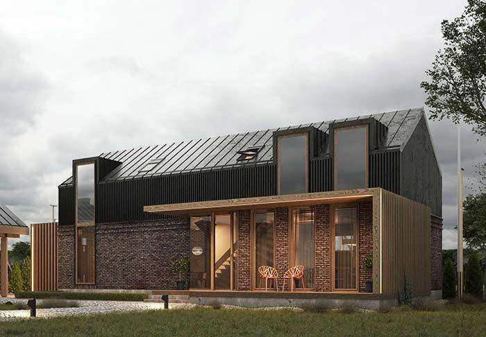 House made of brick with zinc tile