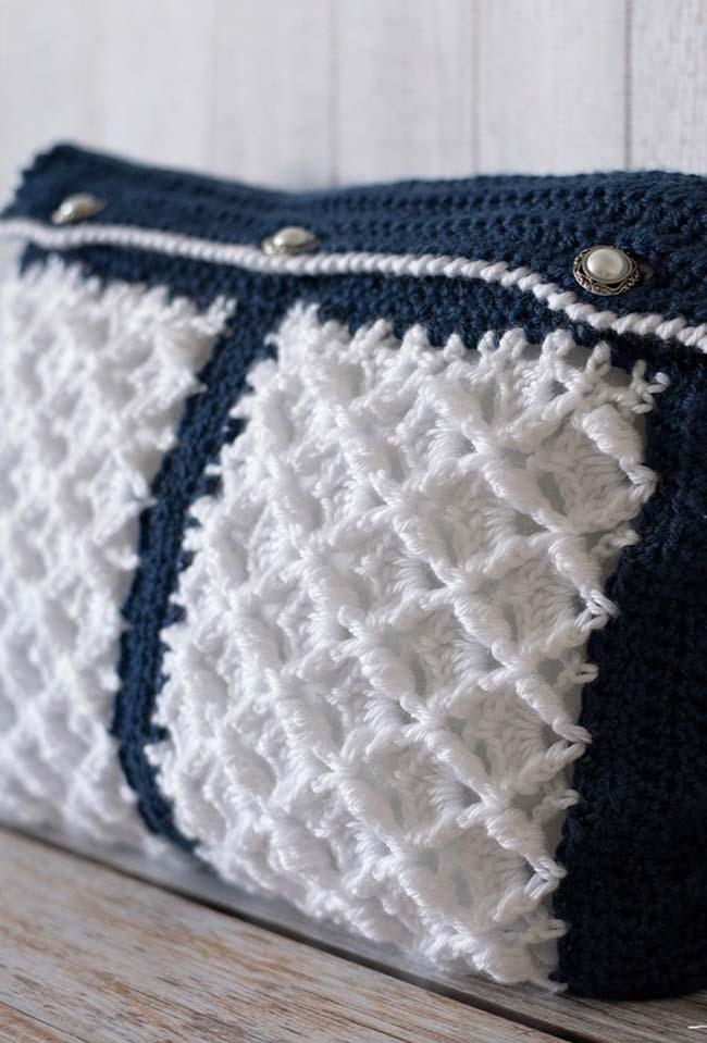 Soft and fluffy crochet cushion cover