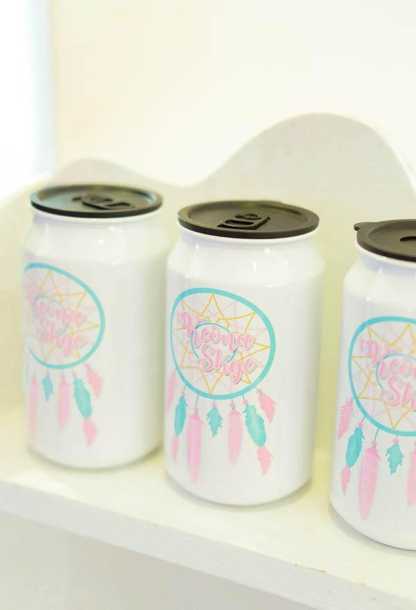 Personalized tin with dream filter for gypsy party decoration
