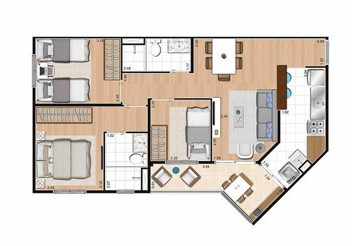 Floor plan 3 rooms