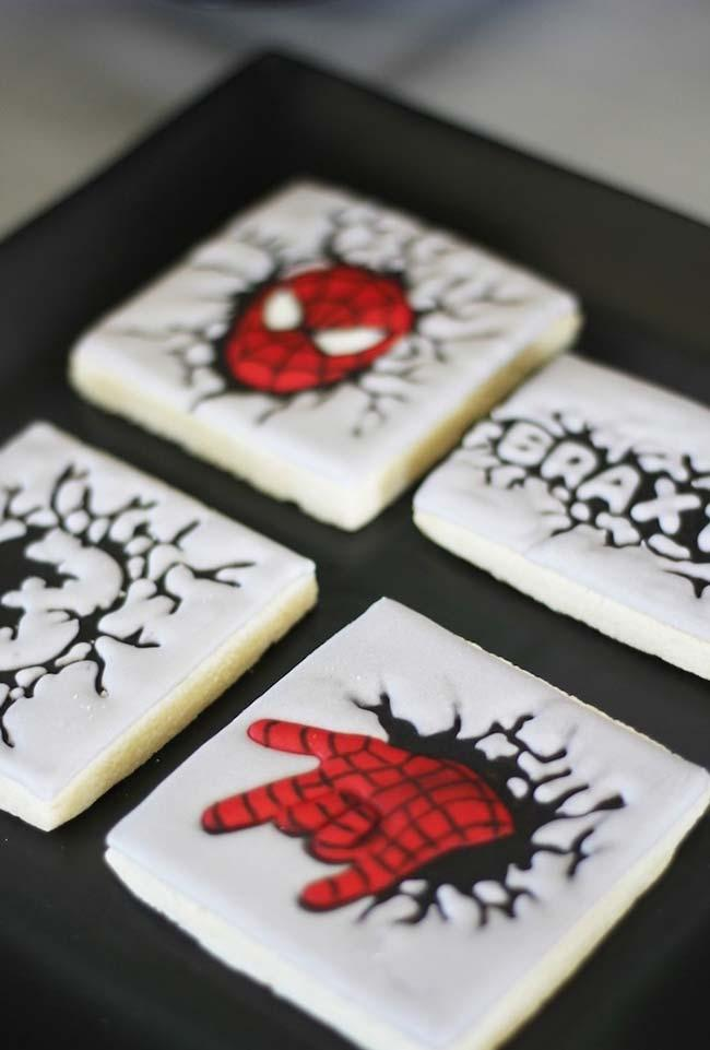 Homemade spider-man cookies