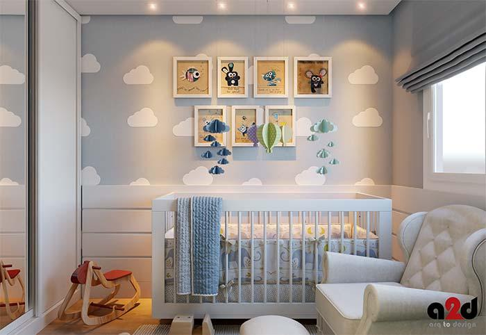 Wall of frames for baby room