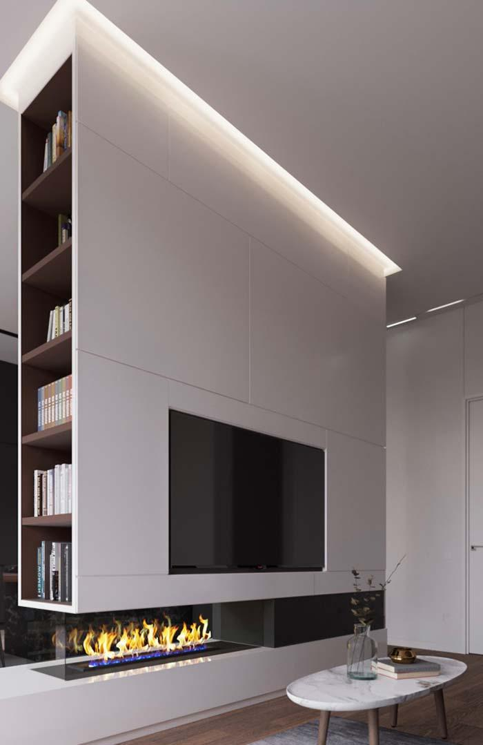 the plaster also forms the niche where the TV is embedded