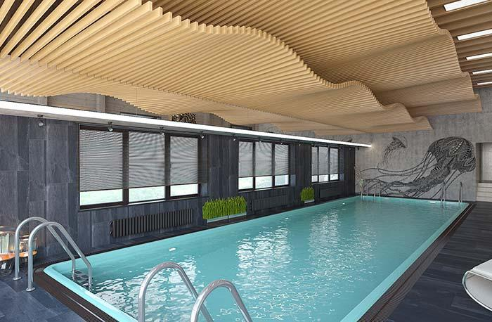 Indoor swimming pool with dark coating
