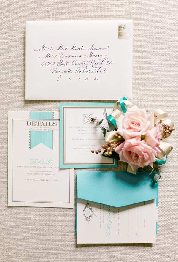 Elegant invitation with a touch of blue color Tiffany