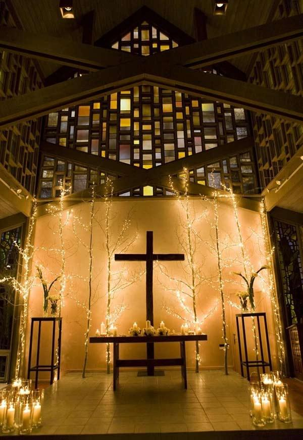 Lights in the decoration of evangelical church