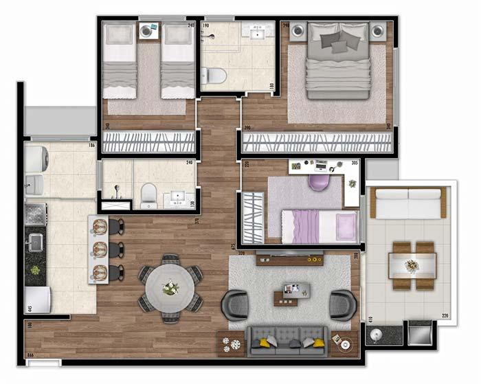 Apartment floor with American kitchen, large balcony and 3 bedrooms