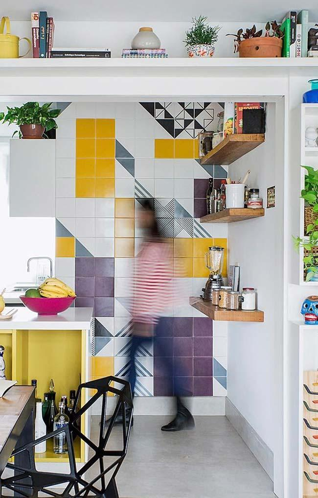 Wall with colored tiles