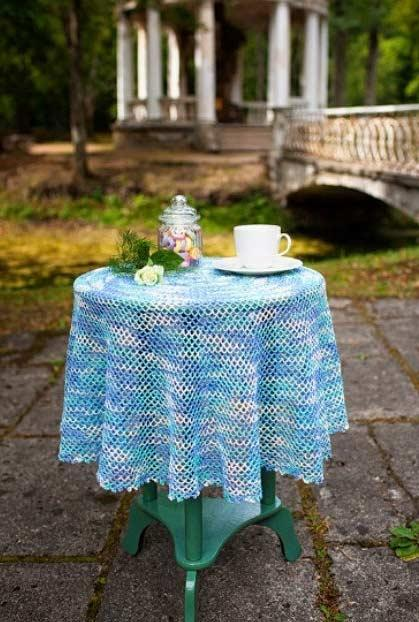Crochet towel with blue gradient