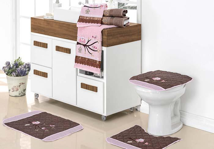 Pink and brown owl bathroom set