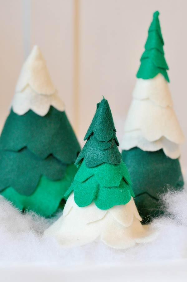 Felt tricolored trees