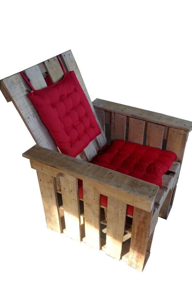 Pallet armchair with backrest and futon seat