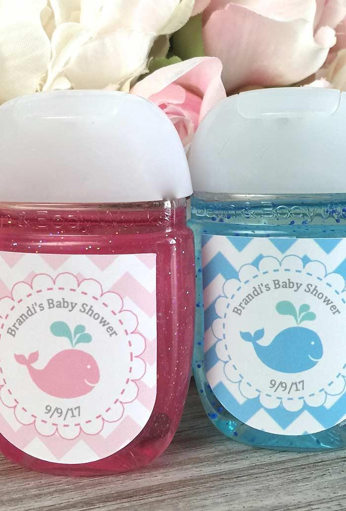 Baby shower reminder: liquid soap filled with color