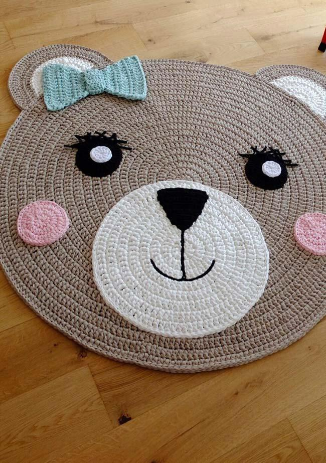 Round crochet rug made with owl graphic
