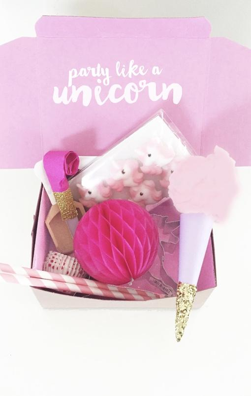 Unicorns for party in the box