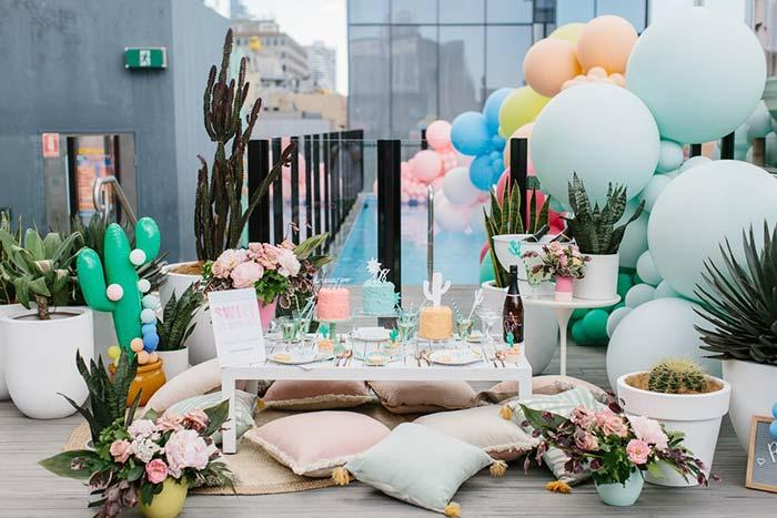 Cacti, succulents and balloons decorate this wedding party at home