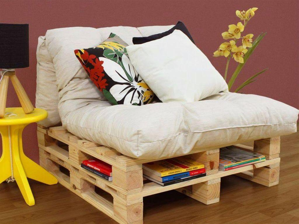 Model of functional pallet armchair