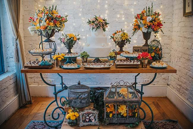 Table of sweets in rustic style