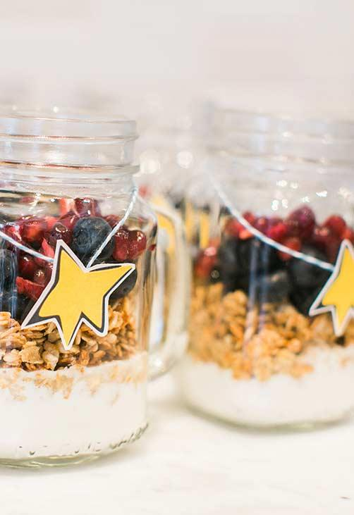 Mason jar with healthy snack