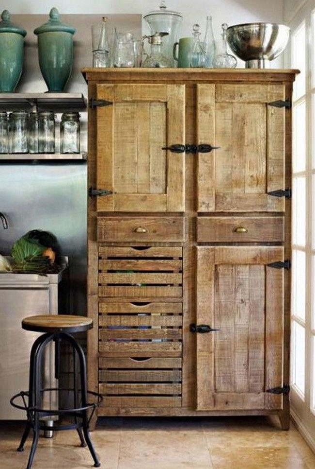 Rustic and retro divide the same cabinet of pallet