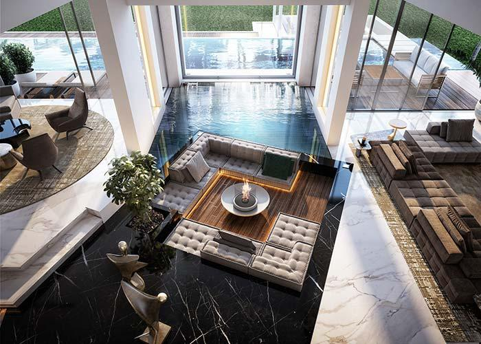 Marble and wooden deck around the pool
