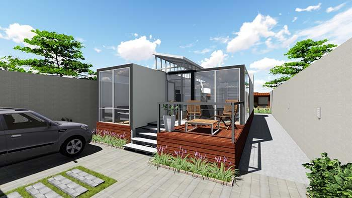 Model container house with balcony