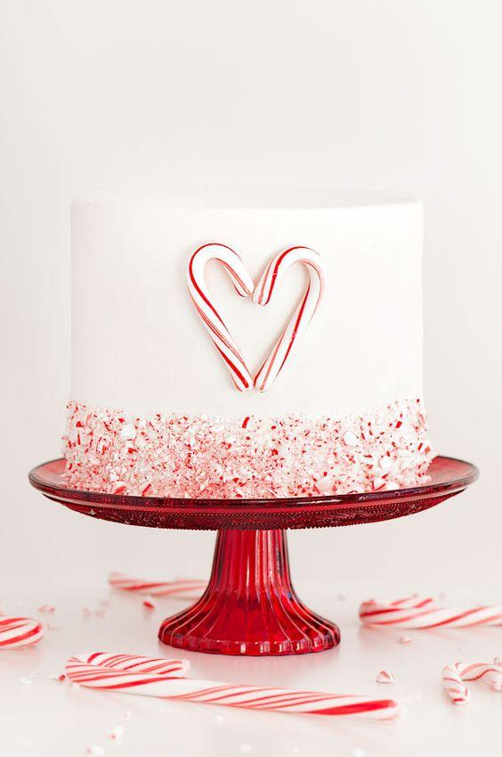 White and red simple wedding cake
