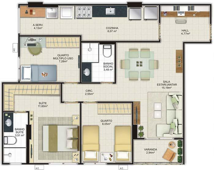 Floor plan with two bedrooms and one suite
