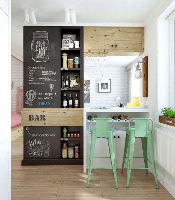 Wall bar: 60 awesome designs, designs and photos 7