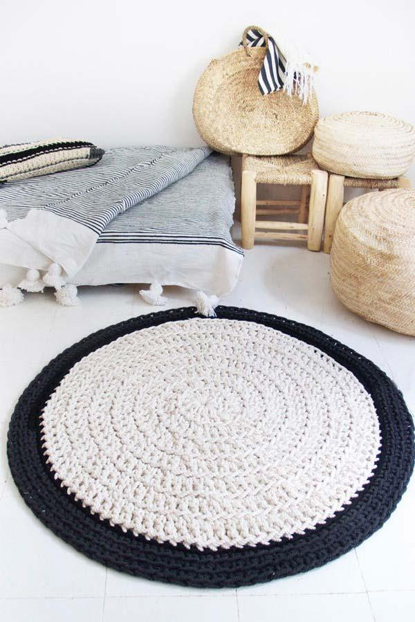 Black and white round crochet rug