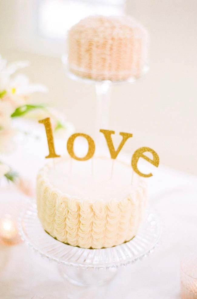 Simple wedding cake with love