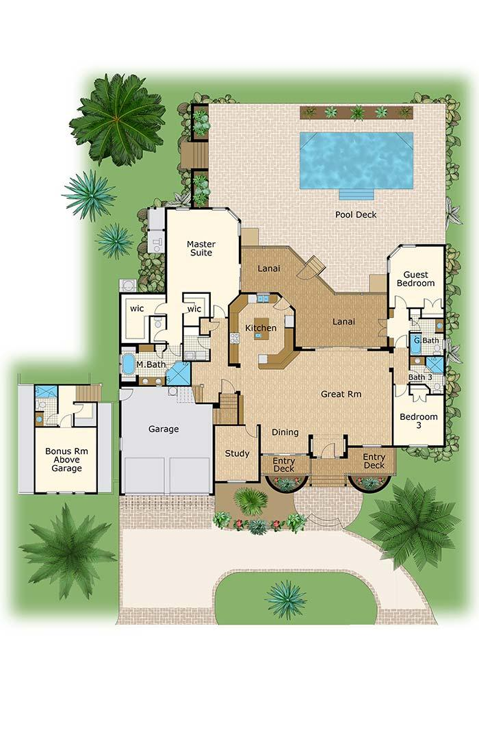 Large house plan with three bedrooms and American kitchen