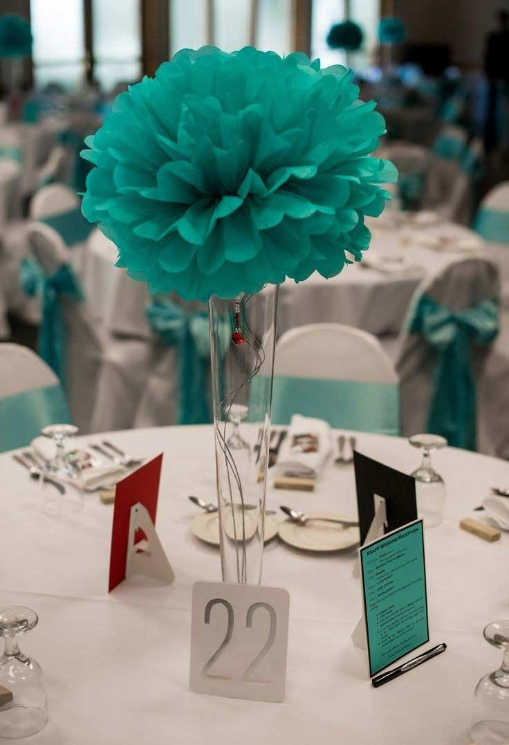 Tiffany blue flowers in the decoration