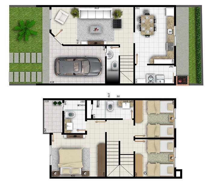 Separate living room and kitchen; on the upper floor, the double bedroom has closet, suite and balcony