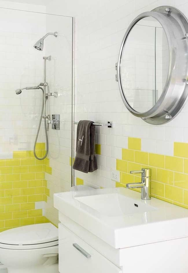 Composition of yellow and white subway tiles