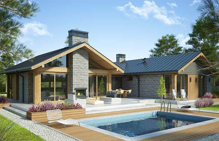House with pool and zinc tile