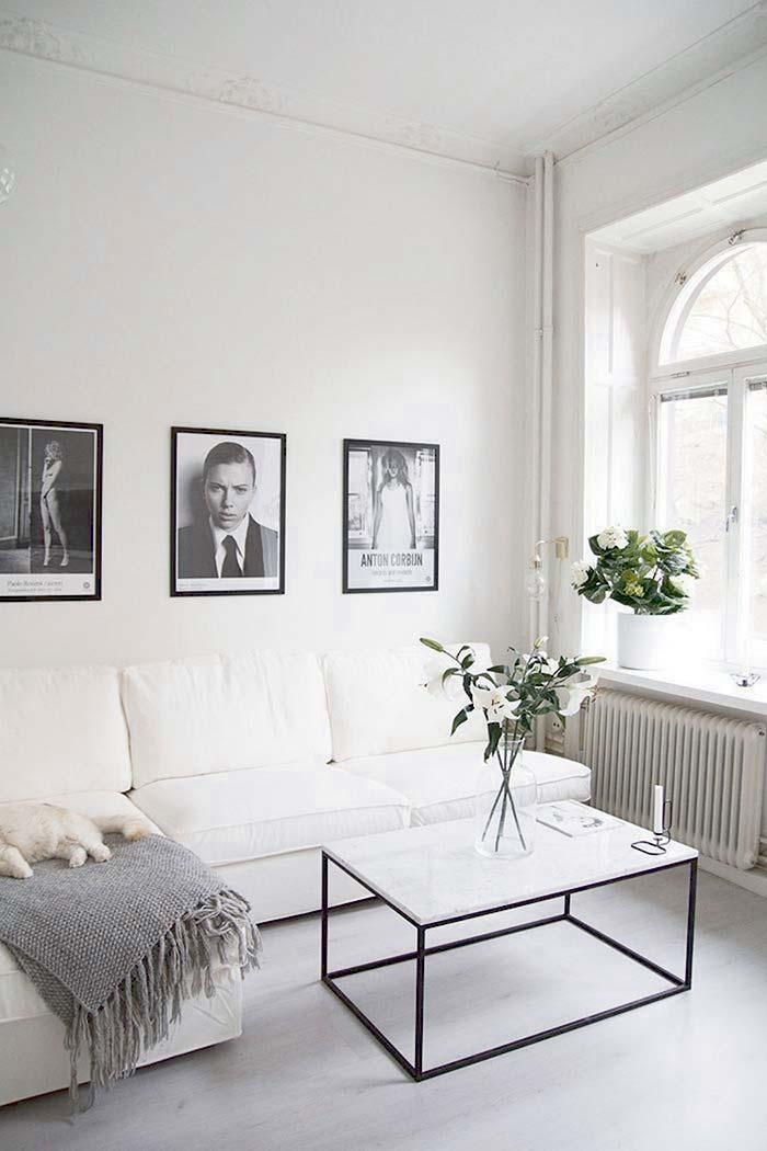 Table top of the living room with white marble