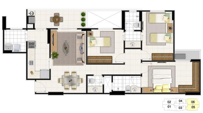 Floor plan with entrance through the dining room