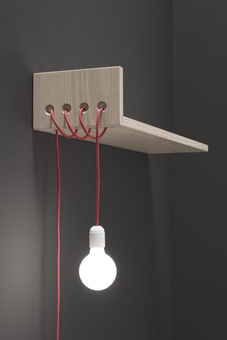 Shelf and lamp together