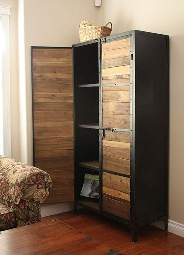 Pallet cabinet painted black