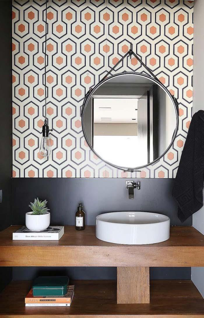 Bathroom with matching tiles with the furniture