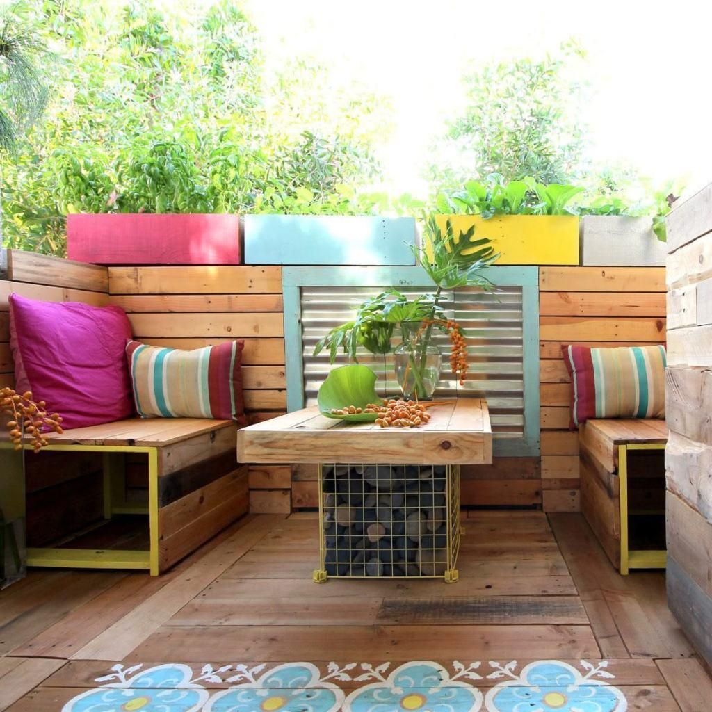 Colorful space with pallet sofa