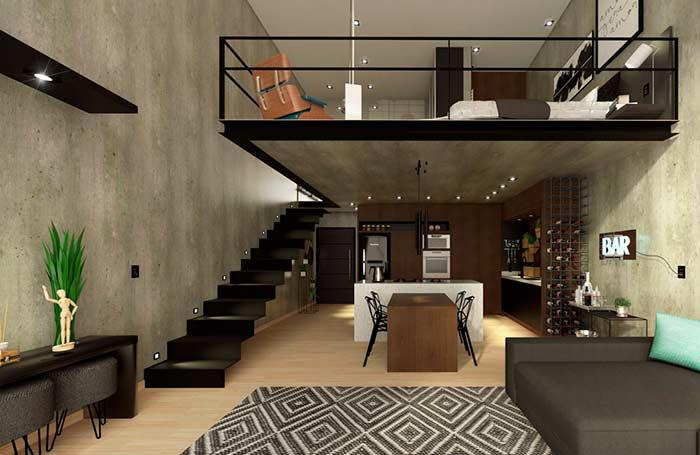 Classic loft with burnt cement
