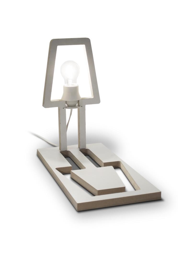 Cutout of luminaire transformed into the stand itself