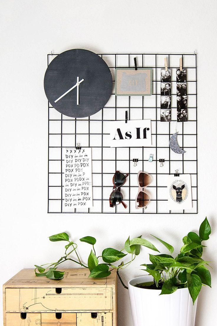 Panel with grid for hanging photos