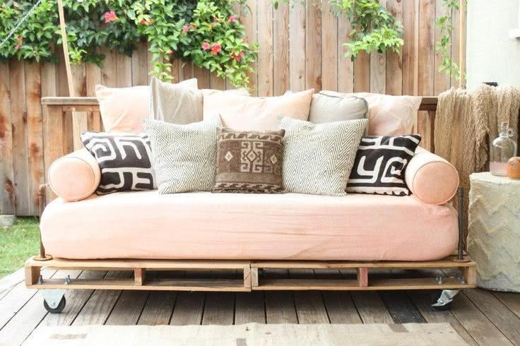 Sofa with pallet pink upholstered