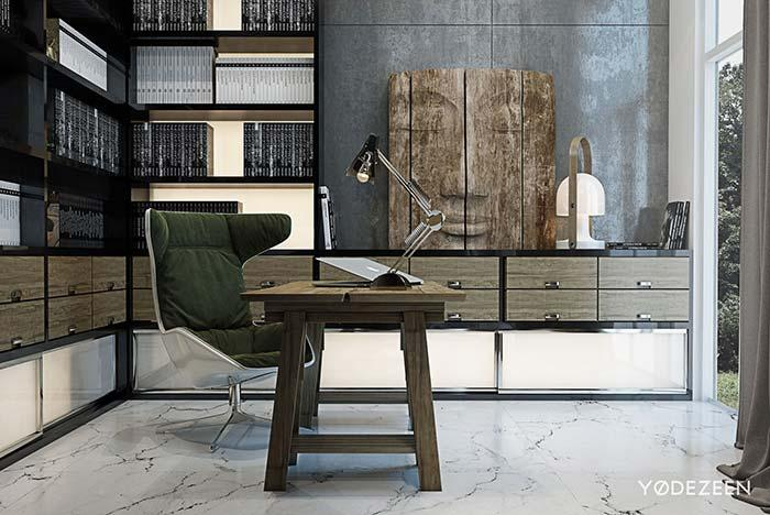 White marble floor in the office