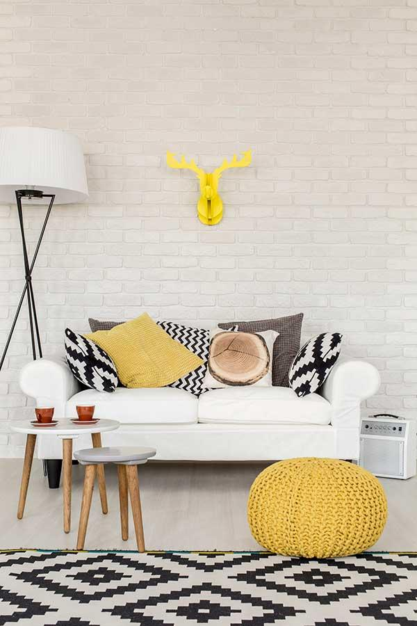 Black and white cushions with colored cushions
