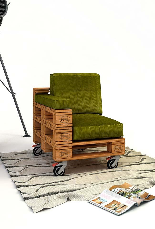 One-arm pallet armchair