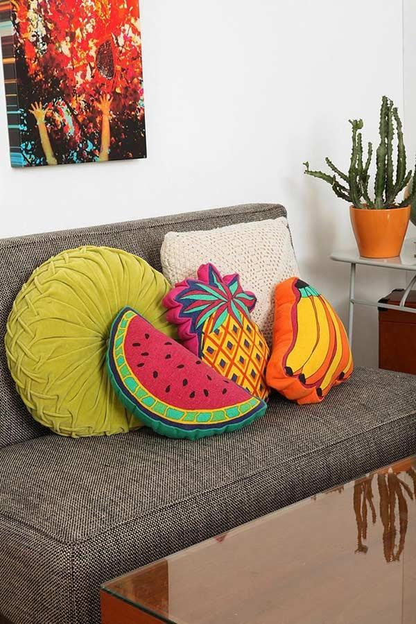 Tropical themed cushions for the sofa